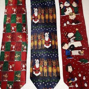 3 Xmas Silk & Polyester Christmas Peanuts Neckties